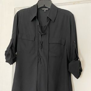 Express Lace-Up Roll Sleeve Shirt